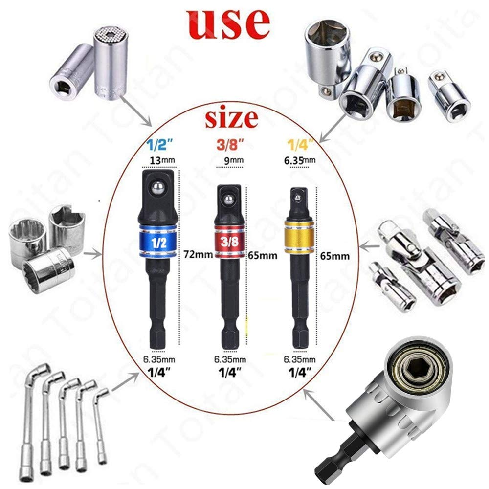 1//4 3//8 1//2, Cr-V, 3-Pcs ,1//4-Inch Hex Shank to Drive for Adapters to Use with Drill Chucks,Universal Socket Wrench Adapter Set Power Hand Tools Impact Grade Driver Sockets Adapter Extension Set