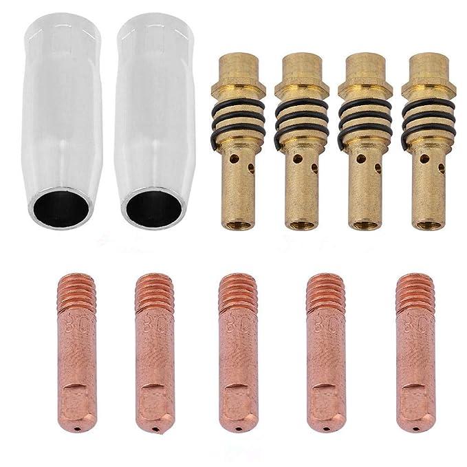 11 unids Boquillas Consejos de Contacto Titulares MIG Soldador Consumible Accesorio Fit para 15AK Torch Gun Soldadora: Amazon.es: Bricolaje y herramientas