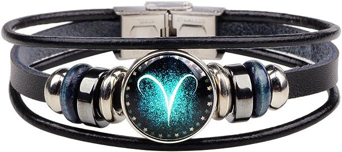 /_ cn /_ Zodiac Amistad Pulsera Constelación Símbolo Diseño Pulsera De Cuero Por ejemplo