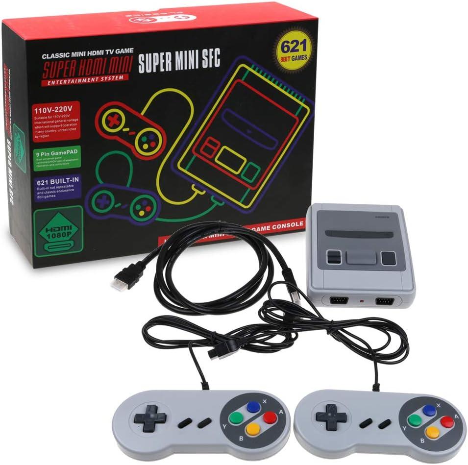 SKAL juegos consola mini classic, retro videojuegos Juegos integrados 621 con salida HDMI y dos controladores, 8bit entertainment system