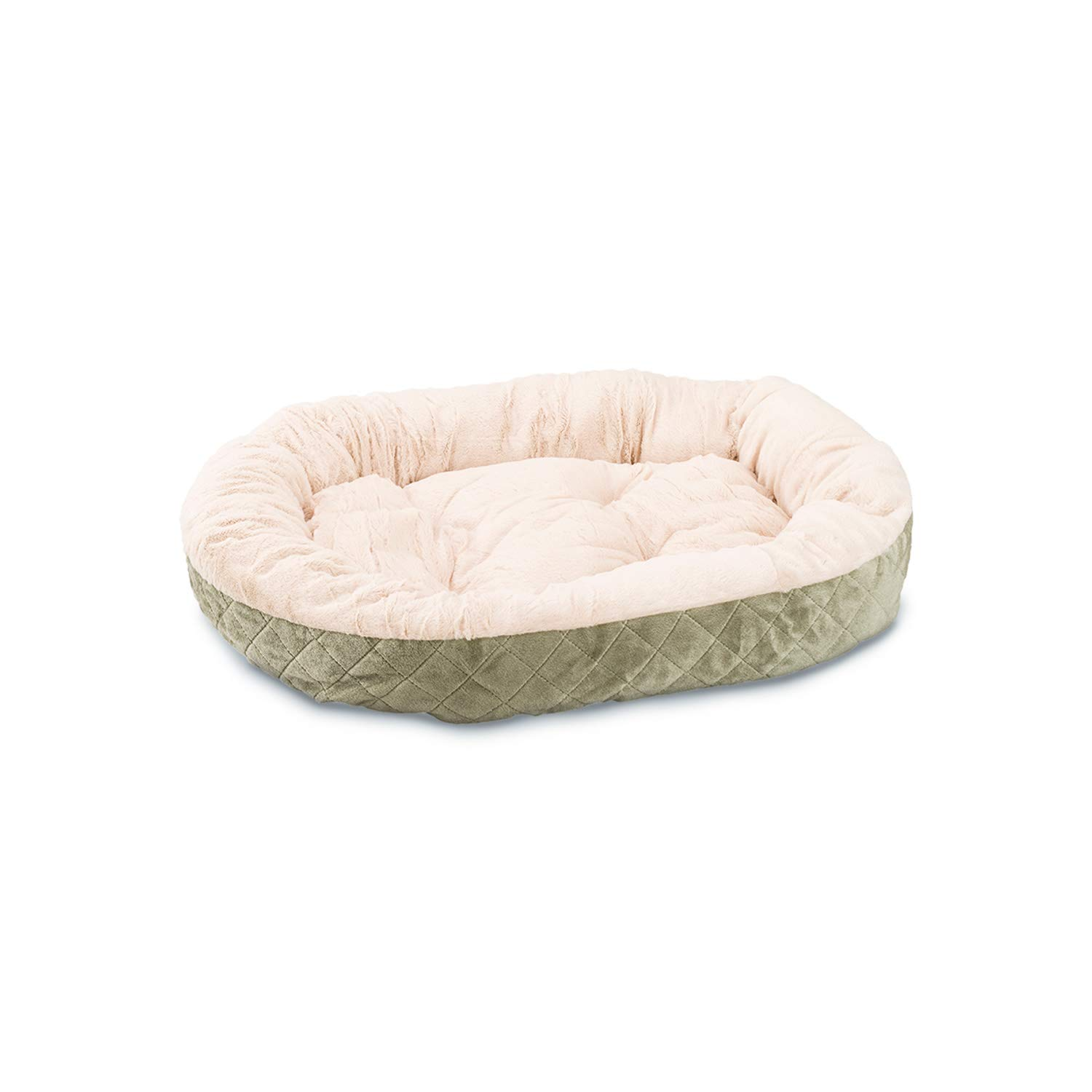 Ethical Pets Sleep Zone Quilted Oval Cuddler Pet Bed, 26 , Sage