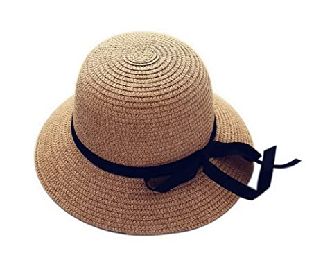 9838e4348b4a67 Image Unavailable. Image not available for. Color: Girls Toddler Straw  Summer Sun Beach Hats Kids Bowknot Broad-Brimmed Hat Brown