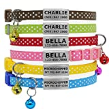 Vcalabashor Custom Cat Collars with Jingle Bell Stainless Steel No Noise Slide-On Tags On Collar 3 Lines Personalized Text Polka Dot Pattern