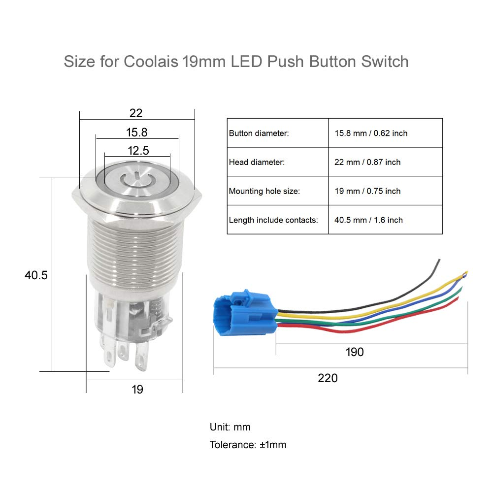 Wiring Setup For Blue Led 22mm 12v Stainless Steel Switch Momentary Push Button Latching On Off Waterproof Switches Ip67 Buttons Pushbutton Locking 19mm 5a 12 Volt With Socket