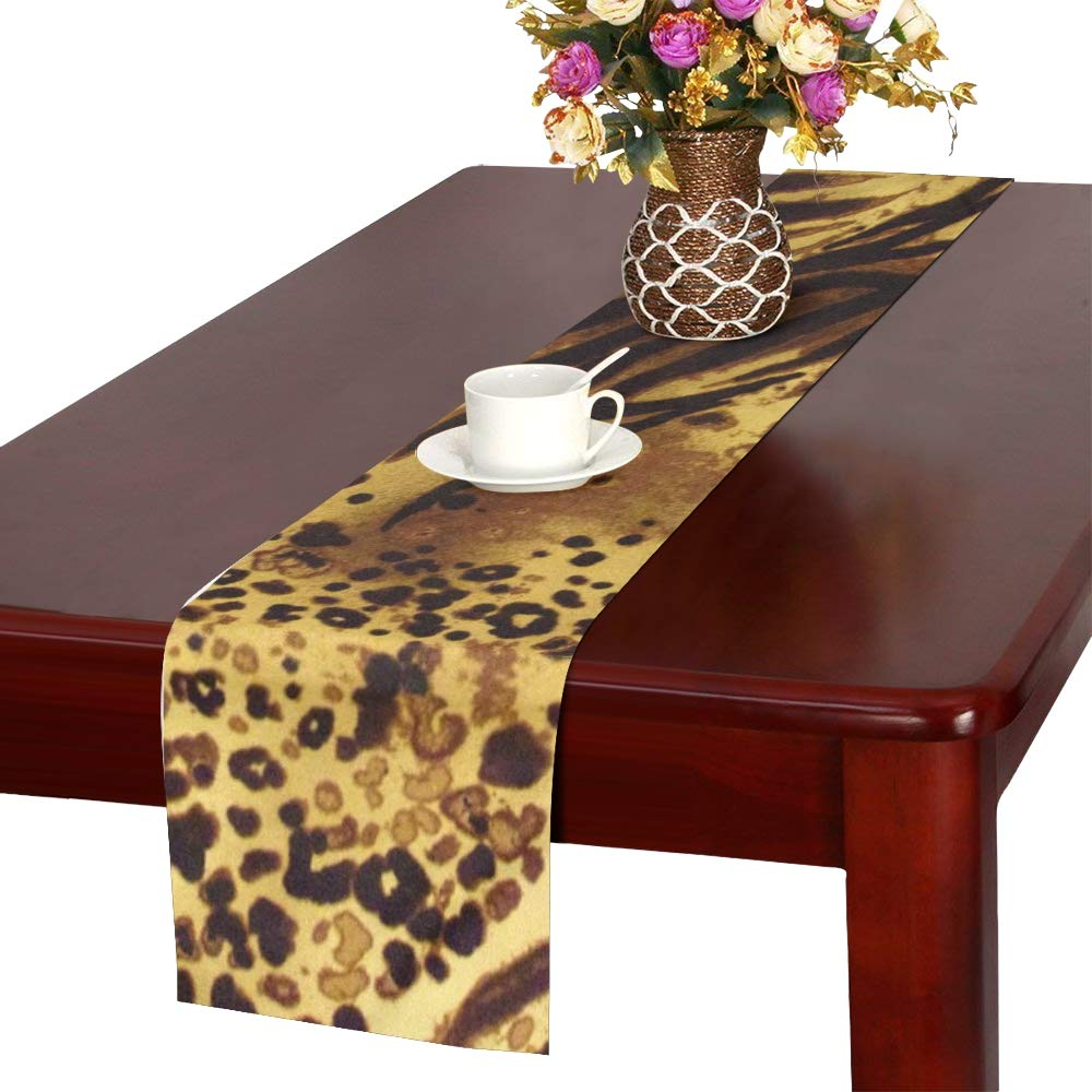 Jnseff Pattern Tiger Stripes Print Animal Safari Table Runner, Kitchen Dining Table Runner 16 X 72 Inch For Dinner Parties, Events, Decor