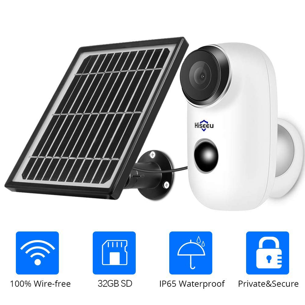 Solar Wireless Camera,1080P Outdoor Security Camera,App Remote,2-Way Audio,Motion Alert,Rechargeable Batteries,IP65 Waterproof,Night Vision,2.4GHz WiFi,6 Months Encrypted Record,32GB Storage by Hiseeu