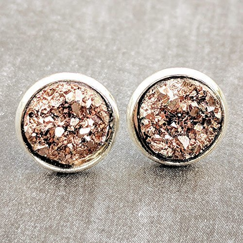 Amazoncom Rose Gold on Silver Druzy Stud Earrings Hypoallergenic