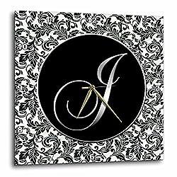 3dRose dpp_38759_2 Letter J Damask Wall Clock, 13 by 13-Inch, Black/White