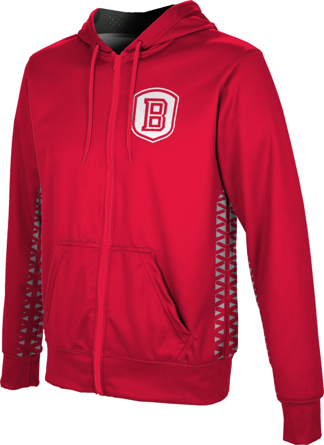 ProSphere Bradley University Boys' Zipper Hoodie, School Spirit Sweatshirt (Geo) FEAA Red and Gray