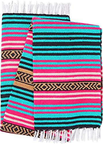 El Paso Designs Peyote Hippie Blanket Classic Mexican Style Falsa Stripe Pattern in Vivid Peyote Colors. Throw, Bed, Tapestry, or Yoga Blanket. Hand Woven Acrylic, 57″ x 74″ (Peyote 3) For Sale