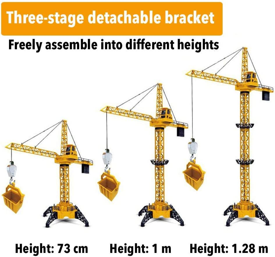 1.28m Tall Large Wireless Remote Control Tower Crane Electric Engineering Vehicle Toy Children Heavy Crane Suitable for Childrens Brain Development