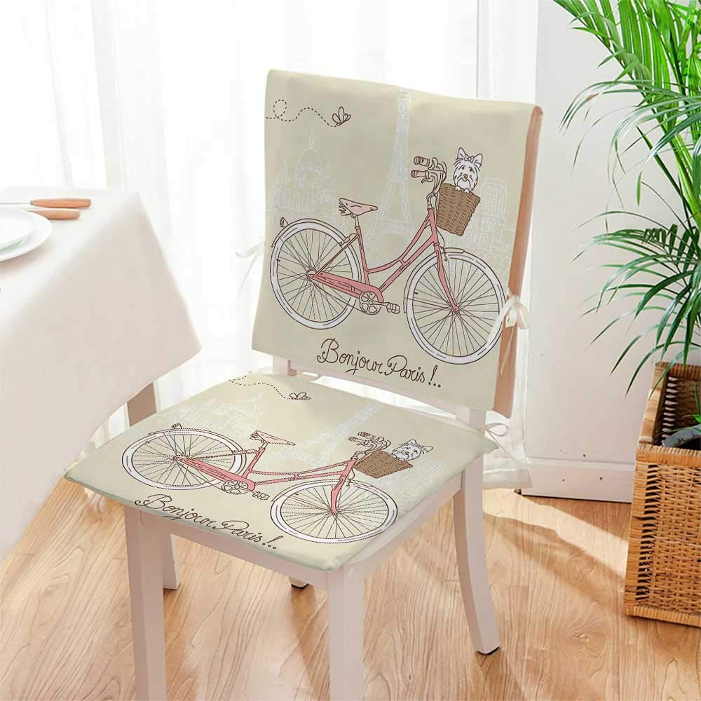 Mikihome Chair Cushion (Set of 2) Postcard from Paris Pattern Dog in Basket of The Bicycle Illustration Egg Shell Includes Seat and Backrest Mat:W17 x H17/Backrest:W17 x H36