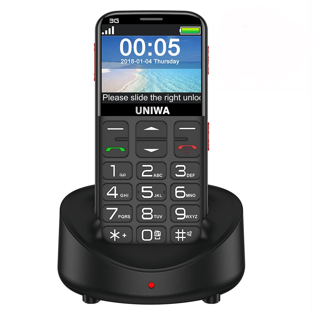 """UNIWA V808G 3G Senior Cell Phone Unlocked Bar Style 2.31"""" Curved Screen Loudspeaker Old Man Phone Portable Simple Cell Phones for Seniors Kids FM Radio, Big Button,SOS Emergency Button, Powerful Torch"""