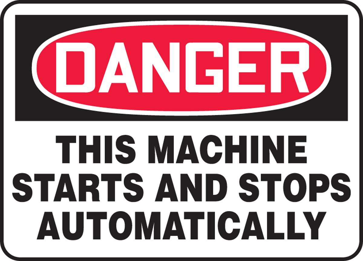 Accuform Danger This Machine Starts And Stops Automatically Safety Sign MEQM152VP 10 x 14 Inches Accuform Signs Plastic
