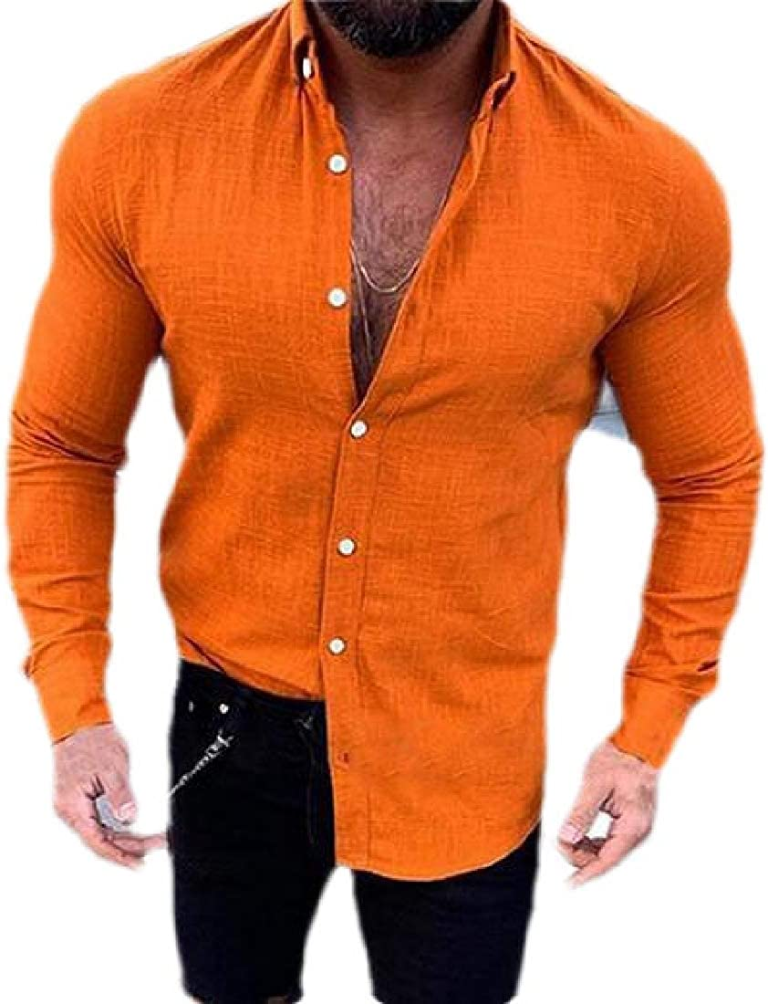 HTOOHTOOH Mens Linen Cotton Shirts Casual Button Down Long Sleeve Loose Fit Fishing Shirt