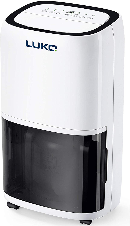 LUKO 16L Deshumidificador Portátil Electrico con Control Humedad y Purificador de Aire Ionizador Depósito 5,5L Drenaje Continuo para Secar Ropa Habitacion Armario Haño Garaje Sotano