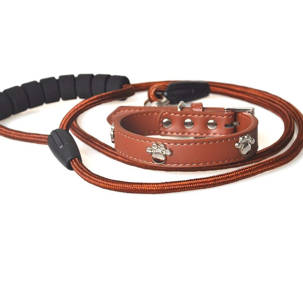 Brown L Brown L LSLMCS Pet Supplies Pet Dog Paw Print Traction Rope Traction Belt Set Leather Dog Cat Collar, Rope Length 1.25m (color   Brown, Size   L)