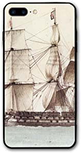 France Nautical Ship Pirate Sailboat iPhone 8 Plus/iPhone 7 Plus Case,Hard PC Protective Graphic Design Mobile Phone Shell 3D Print Case Cover 5.5 Inch for iPhone 7P / 8P