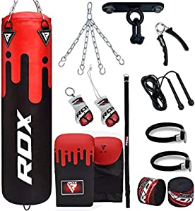 RDX Punching Bag for Boxing Training, 4ft 5ft unfilled Heavy Bag Set with Punching Gloves, Ceiling Hook, Chain, 13PC for Grappling, MMA, Kickboxing, Muay Thai, Karate, Taekwondo, BJJ