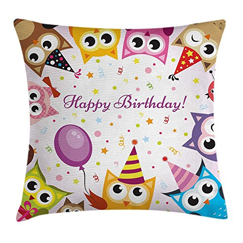 YXZILH Birthday Decorations for Kids Throw Pillow Cushion Cover, Party Owl Family with Colorful Cone Hats on Confetti Backdrop, Decorative Square Accent Pillow Case, 18 X 18 Inches, Multicolor