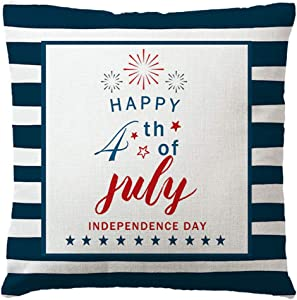 """7COLORROOM Happy Independence Day Throw Pillow Covers Stripes Decor July 4th USA Patriotic Cushion Cover Farmhouse Home Decor Cotton Linen Pillowcases 18"""" x 18"""" for Sofa Couch Porch(Blue)"""