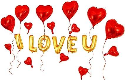 Romantic I LOVE YOU Heart Shape Aluminium Foil Balloons Valentine/'s Day Balloons