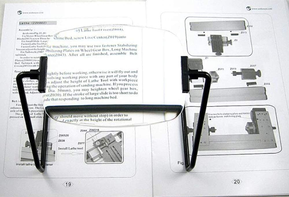 Reading Black 9cm17cm10cm KONGZIR Desktop Glass Can Be Used for Reading and Reading Newspapers Office Learning 2 Times Magnification Spotlighting