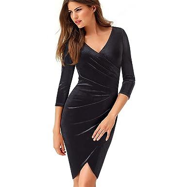 44b4e63d0a09 Vintage Flower Stitching Casual Wear Work Velvet Vestidos Bodycon Business  Office Ruffled Dress Black S