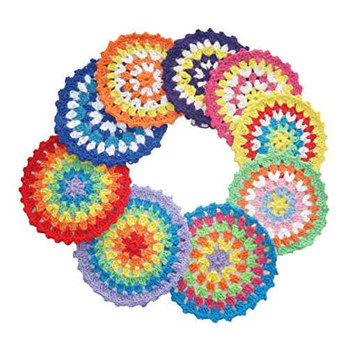 Round Hand Crocheted Doily Coaster Brightly Rainbow Colored Vintage 4.3 inches (Pack of 9) (Multicolor)