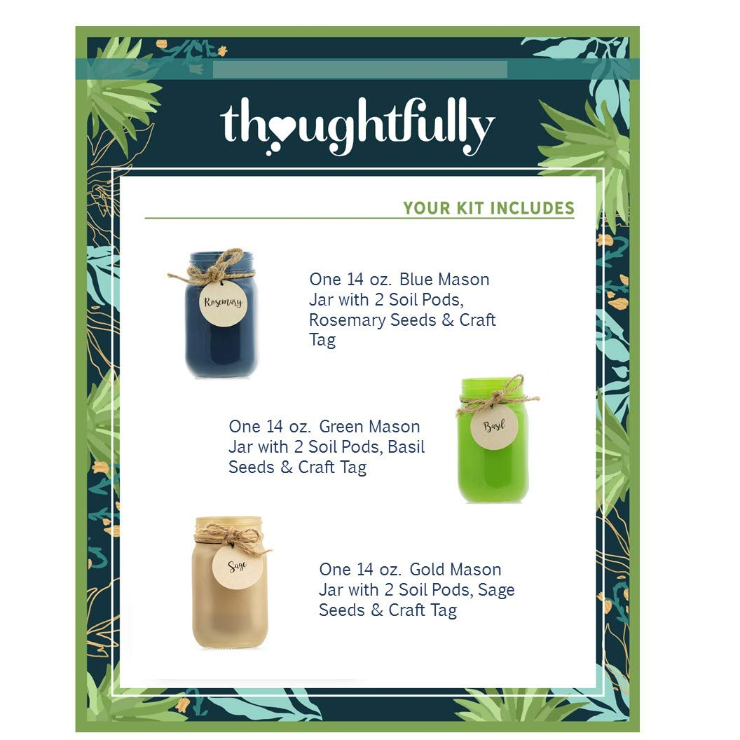 Thoughtfully Gifts, Mason Jar Garden, Grow Your Own Herbs Gift Set, Contains Rosemary, Basil and Sage Seeds with 6 Soil Pods by Thoughtfully (Image #6)