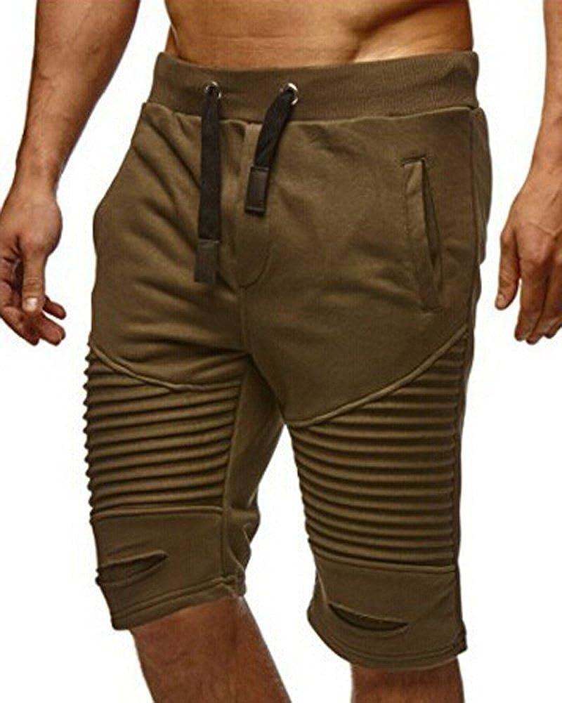 Minetom Mens Fold Holes Shorts Jogging Pants Jersey Trousers