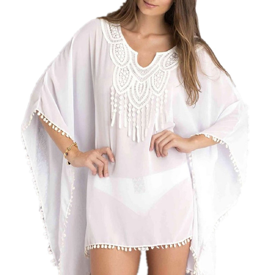 Lace Front Chiffon Bikini Beach Wear Cover up Beach Dress(White) HeartBee HB2281943