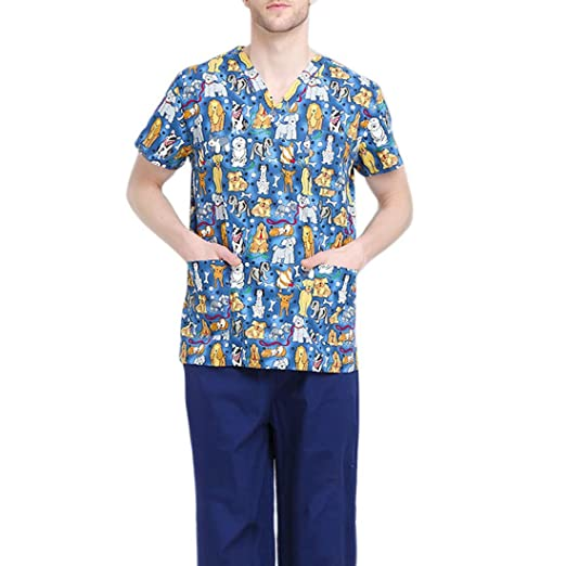 Jiyaru Uniforme Médico Ropa Enfermera de Manga Corta Bata Médico Laboratorio Enfermera Sanitaria: Amazon.es: Ropa y accesorios