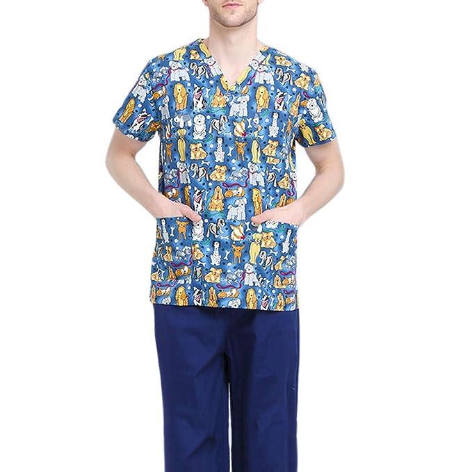 Jiyaru Uniforme Médico Ropa Enfermera de Manga Corta Bata Médico Laboratorio Enfermera Sanitaria Hombres M: Amazon.es: Ropa y accesorios