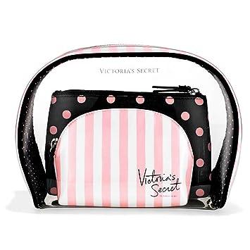 5484f93cb723 Victoria's Secret Multi Zip Travel Cosmetic Pack - VS Sexy Bag Trio Set -  Pink & White Stripes / Black...