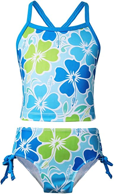MSemis Big Girls Youth 3pcs Tankini Swimsuit Top with Bottom Shorts Sets Swimming Bathing Suits