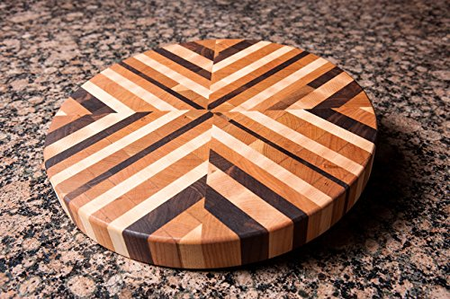 Chopping Blox Round End Grain Cutting Board in Walnut, Maple and Cherry. Model AXXB