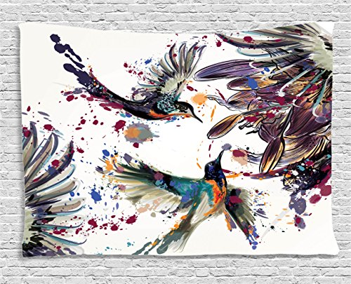 Ambesonne Hummingbirds Decorations Tapestry Wall Hanging, Art with Lily Flowers Birds and Color Splashes in Watercolor Painting Style, Bedroom Living Room Dorm Decor, 60 W X 40 L, Orange Blue (Wall Hanging Hummingbird)