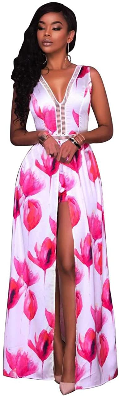 Blansdi Women V Neck Sleeveless Open Back Flower Print Maxi Dress Overlay Shorts Jumpsuit Rompers