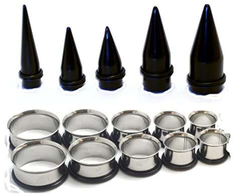 Amazon 15 Pc Huge Tapers Ear Stretching Kit Black And Surgical Steel Tunnels 0g 1 Inch 00g 7 16 2 9 5 8 Jewelry
