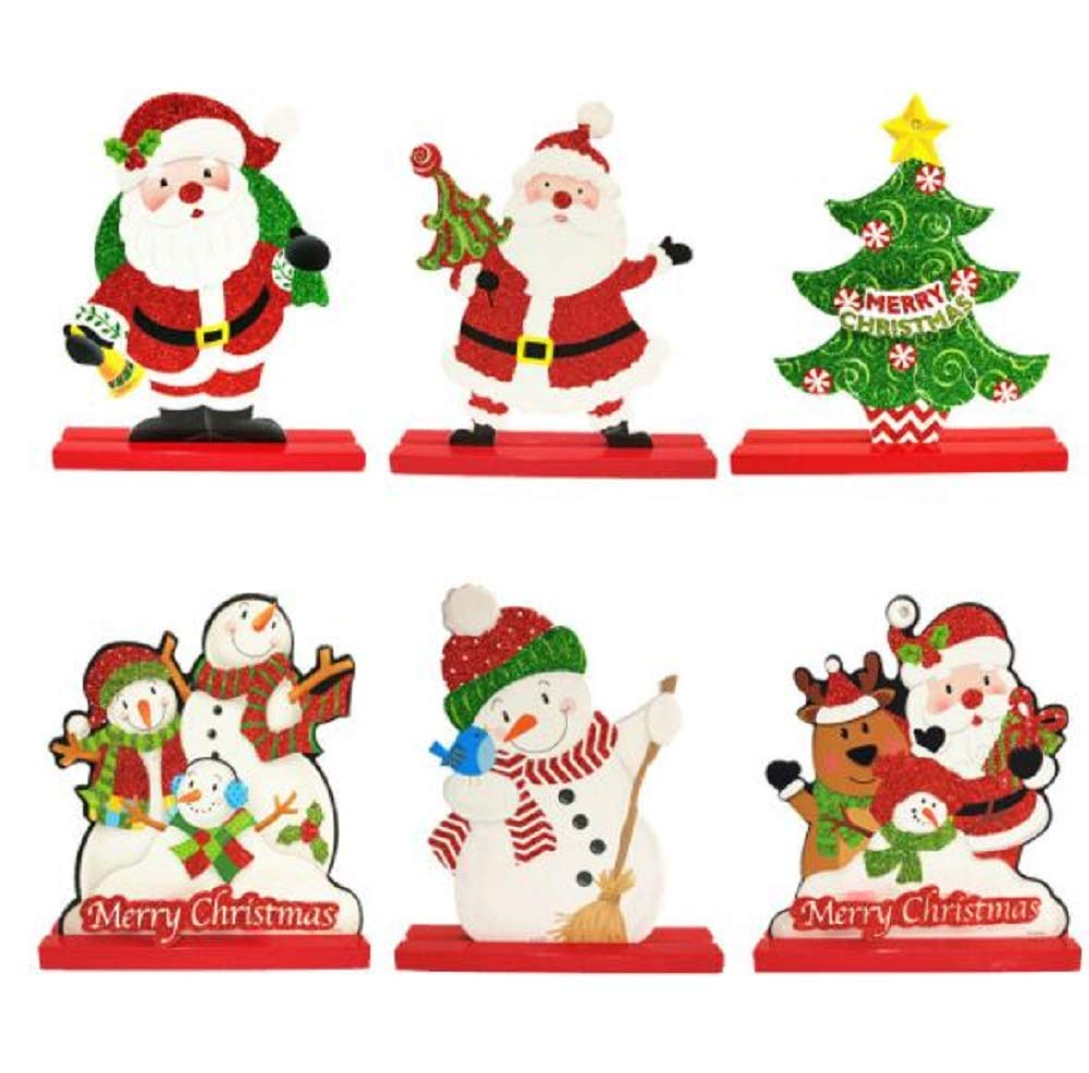 Amazon.com: EBTOYS 6pcs Tabletop Christmas Wooden Desk with ...