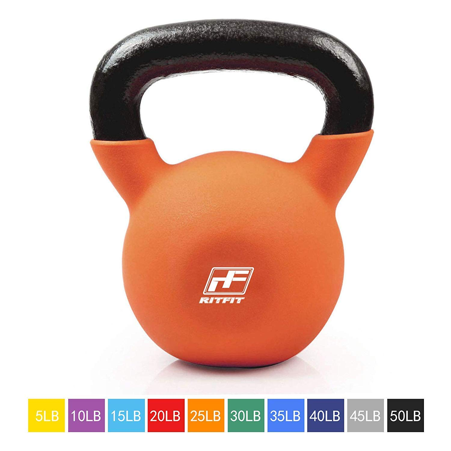 RitFit Neoprene Coated Solid Cast Iron Kettlebell - Great for Full Body Workout, Cross-Training, Weight Loss & Strength Training (5/10/15/20/25/30/35/40/45/50 LB) (25LB(Orange))