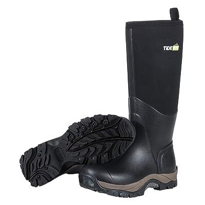 TideWe Rubber Neoprene Boots Men and Women, Waterproof Durable Insulated Neoprene Boot, Rain Boot Hunting Boot Arctic Outdoor Boot Men Size 13 Black: Sports & Outdoors