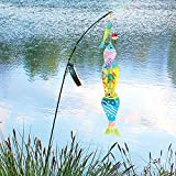 UNIVERSAL DIRECT BRANDS Glass Fish Solar Yard Stake - Light-up Fishing Pole Lawn Ornament