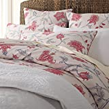 Brandream French Country 100% Queen Cotton Floral Pattern Red White Background Bedding Set with 1 Duvet Cover and 2 Pillowcases 300 Thread Count Premium Quality