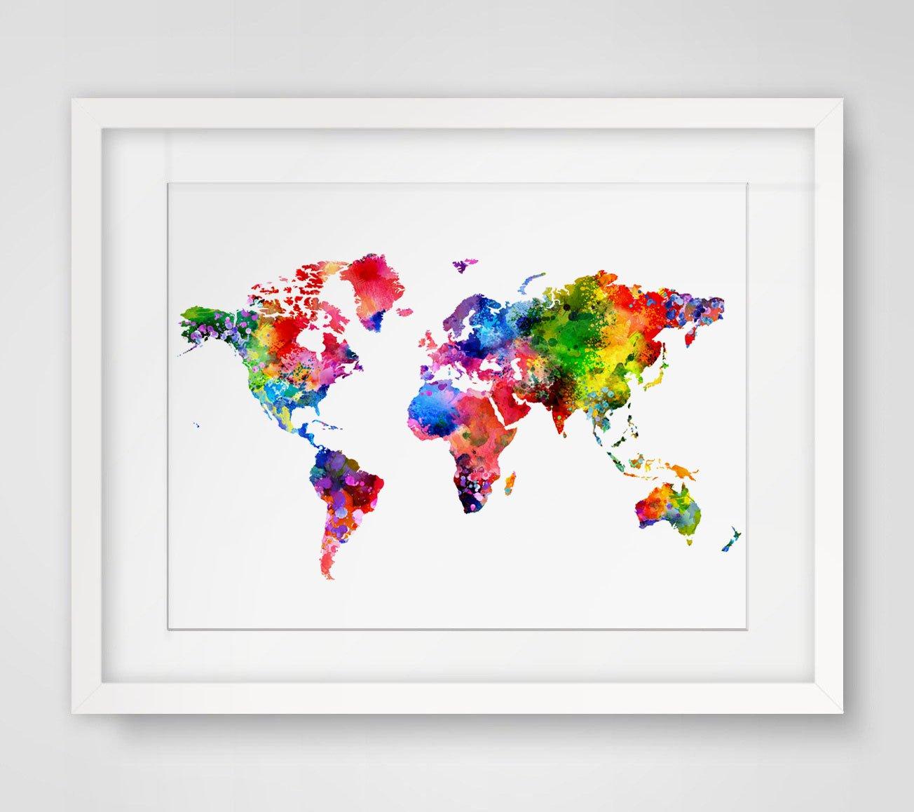 Amazon com: World Map Art Print Watercolor Poster Wall Art