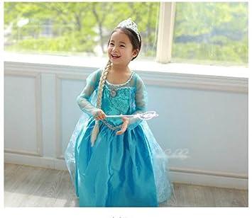 Disney Frozen Girls Princess Elsa Vestido de Disfraz + ...