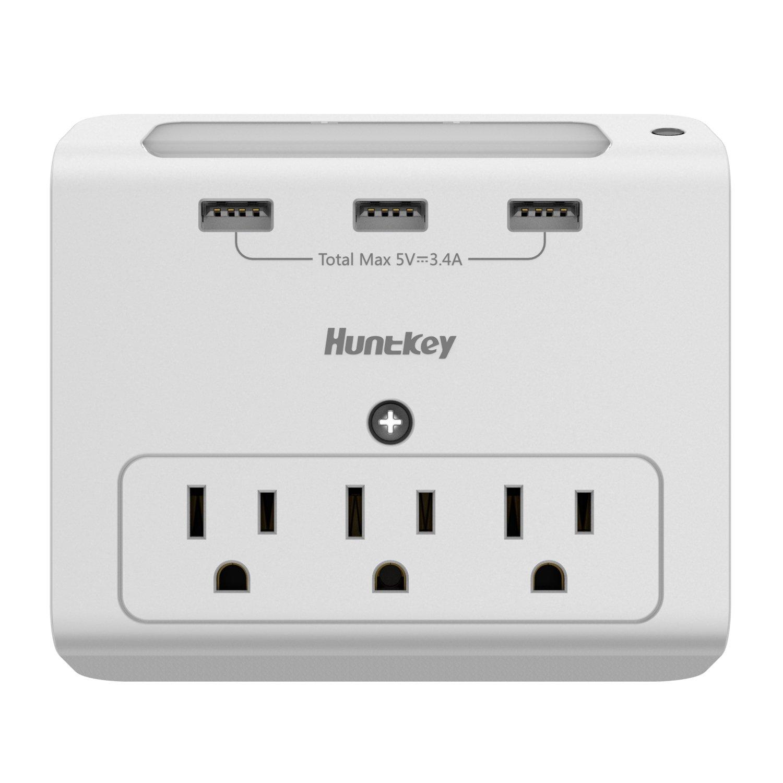 Huntkey Wall Mount 3-Outlets with 3 USB (3.4A) Ports, Auto Sensor Night-Light (SMD307)