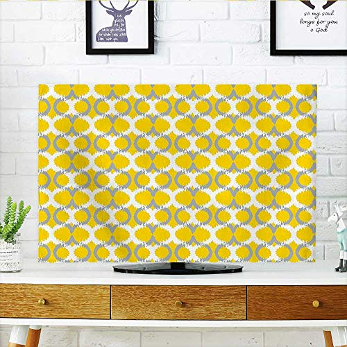 Auraisehome Protect Your TV Collection Oval and Double Mesh Ikat Motifs Modern Retro Camouflage Style Decorative Lines Protect Your TV W35 x H55 INCH/TV 60