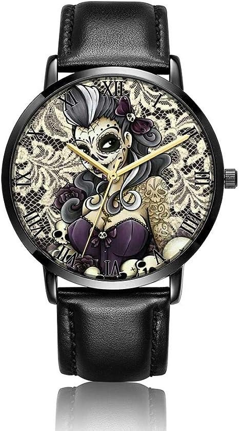 Whiterbunny Customized Skull Flower Wrist Watch Unisex Analog Quartz Fashion Black Leather Strip/Black Dial Plate for Women and Men